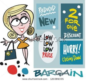stock-vector-vector-cartoon-of-smiling-woman-with-shopping-bargain-signs-120389335