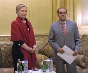 Secretary of State Hillary Rodham Clinton meets with Mahmoud Jibril, executive bureau chairman of the transitional national council in Libya, during a bilateral meeting at the Emirates Palace Hotel in Abu Dhabi, United Arab Emirates, Thursday, June 9, 2011.  (AP Photo/Susan Walsh, POOL)