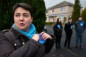 EDINBURGH, SCOTLAND - MARCH 31:  Scottish Conservative leader Ruth Davidson, joins activists campaigning on March 31, 2015 in Edinburgh, Scotland. Scottish Conservatives reveal new figures in relation to the Scottish Governments widely criticised changes to stamp duty, during the second day of general election campaigning.  (Photo by Jeff J Mitchell/Getty Images)