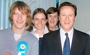 Shows: Matt Lewis (Far Left) with David Cameron. Source: Facebook
