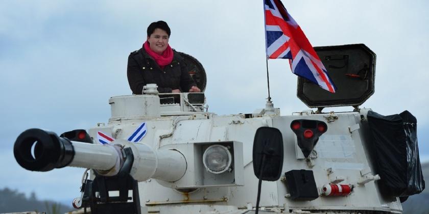 Scottish Conservative Leader Drives A Tank